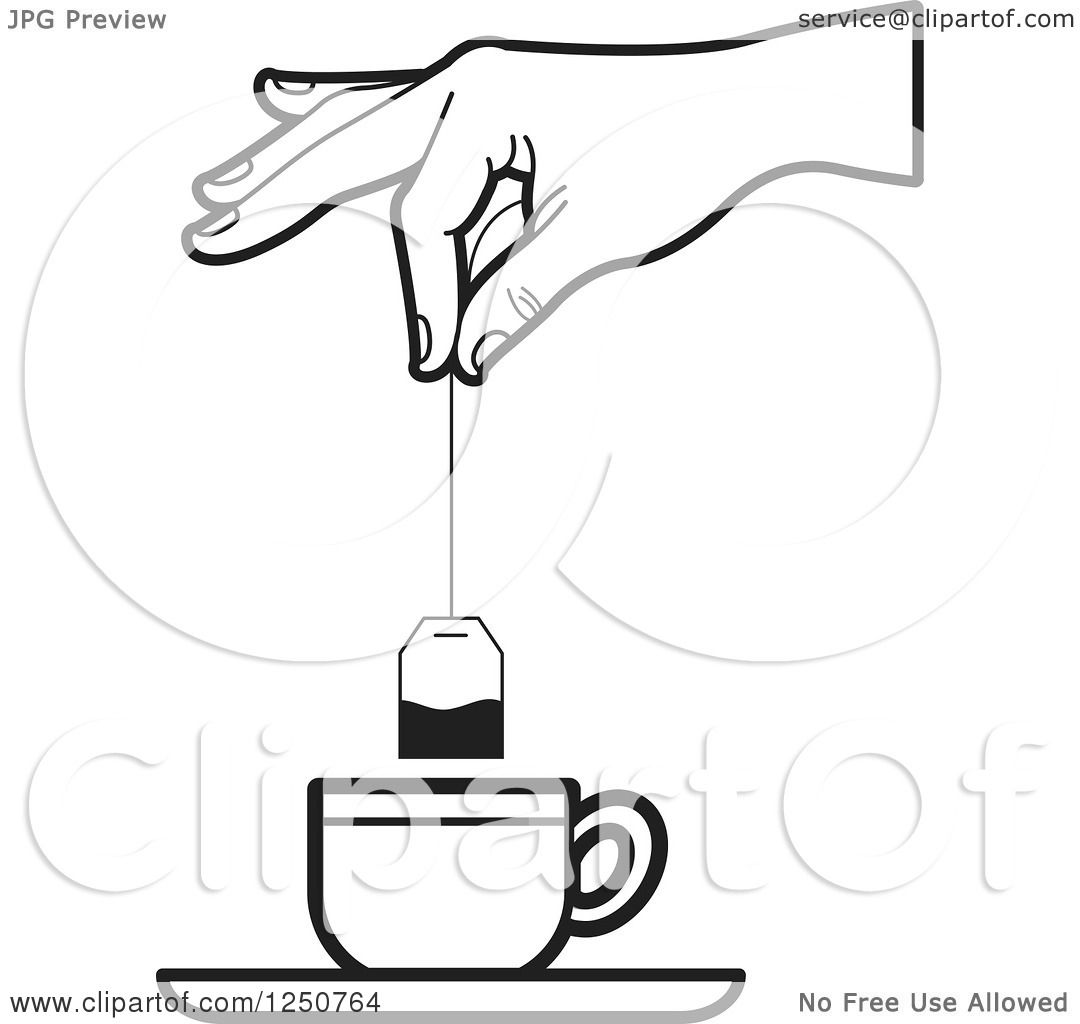 Clipart Of A Black And White Hand Dipping Tea Bag Into Cup