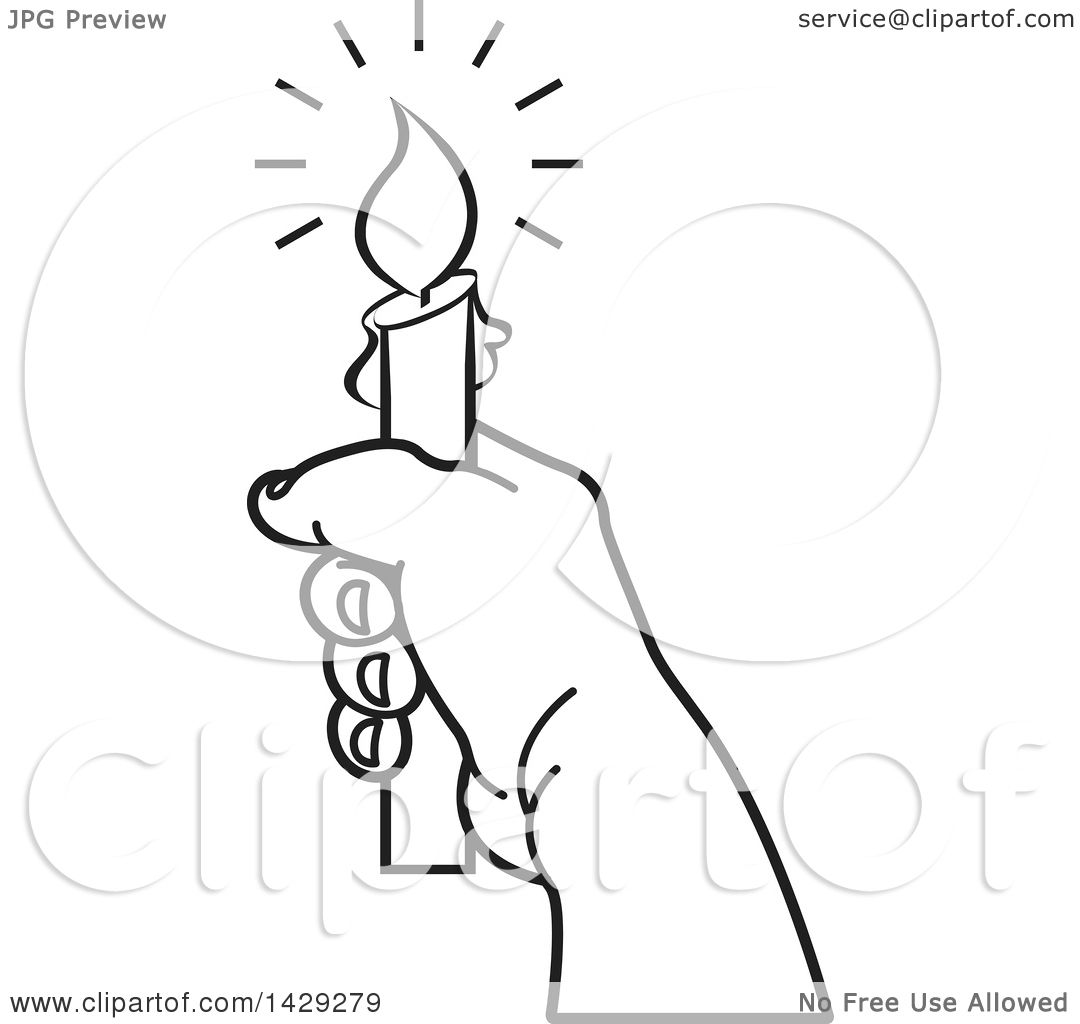 Clipart of a Black and White Hand Holding a Candle - Royalty Free ... for Candle Clip Art Black And White  545xkb