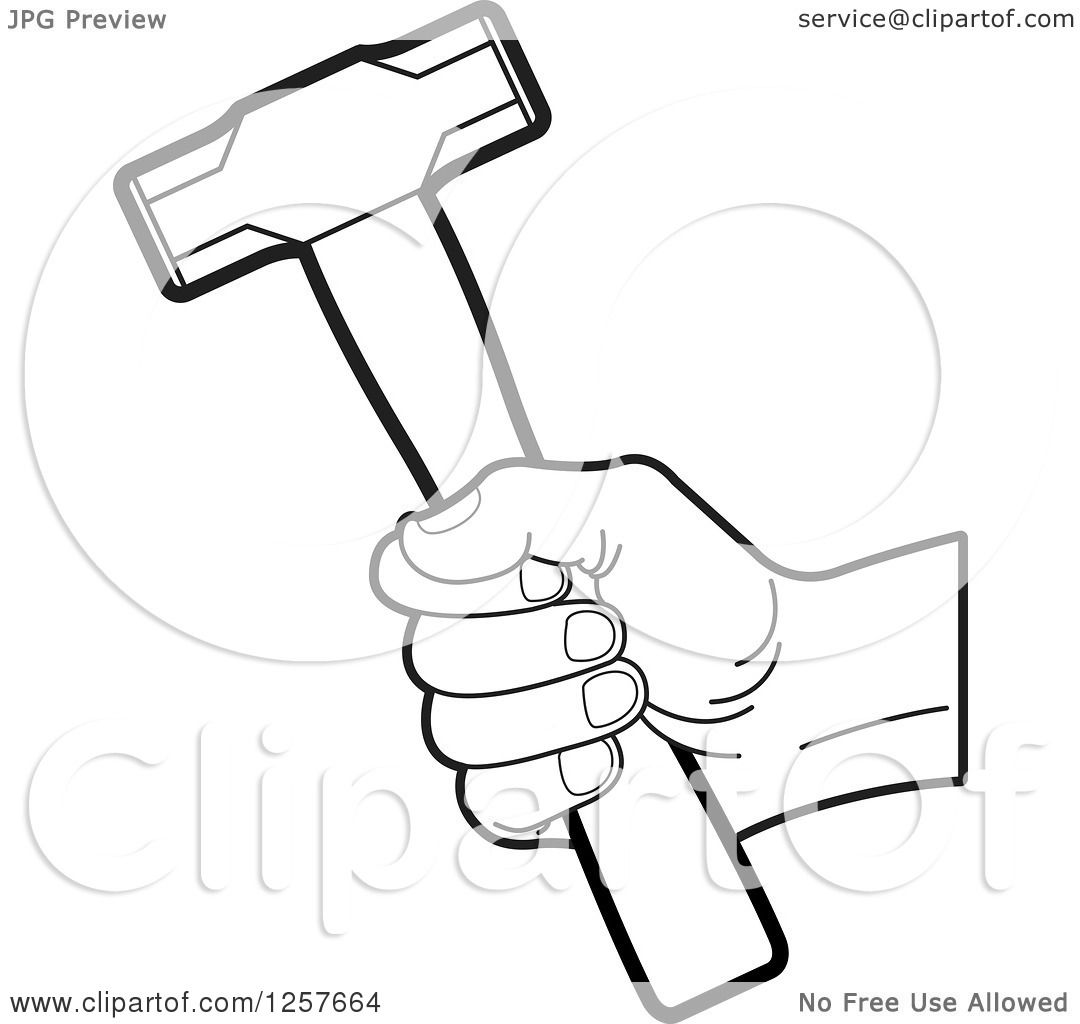 Vector Illustration Hammer: Clipart Of A Black And White Hand Holding A Hammer
