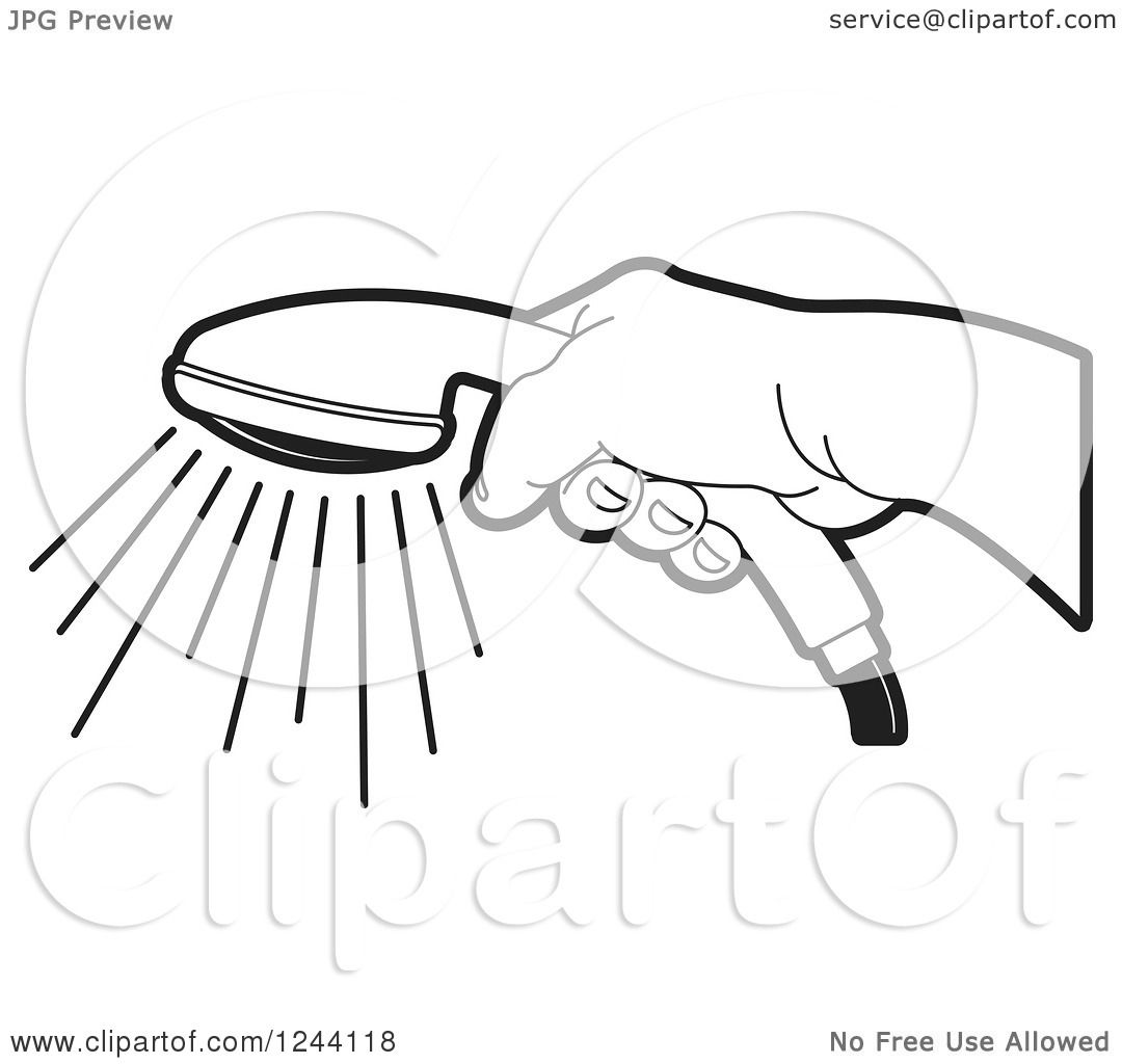 Clipart of a Black and White Hand Holding a Shower Head - Royalty ... for shower head clipart black and white  111ane