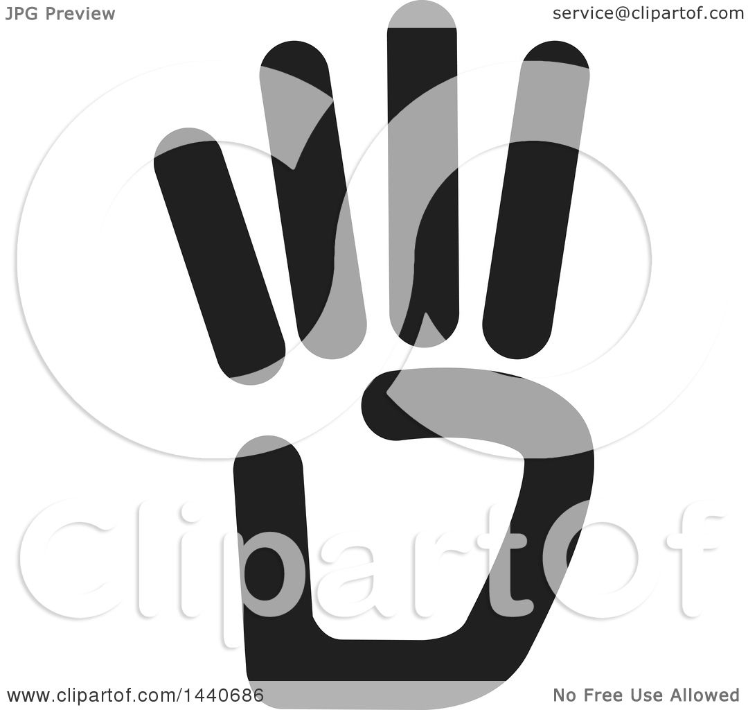 Clipart of a Black and White Hand Holding up Four Fingers ...