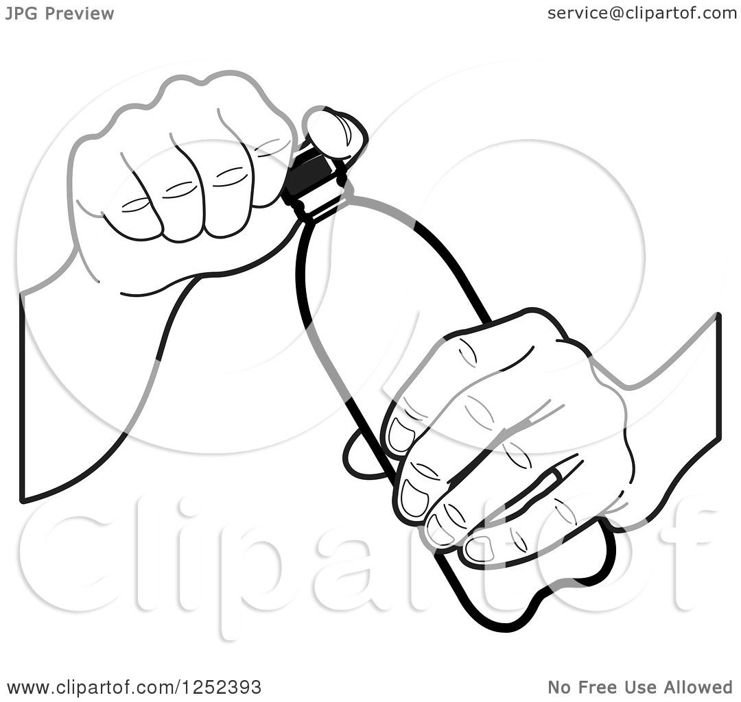 Clipart Of A Black And White Hand Opening A Water Bottle