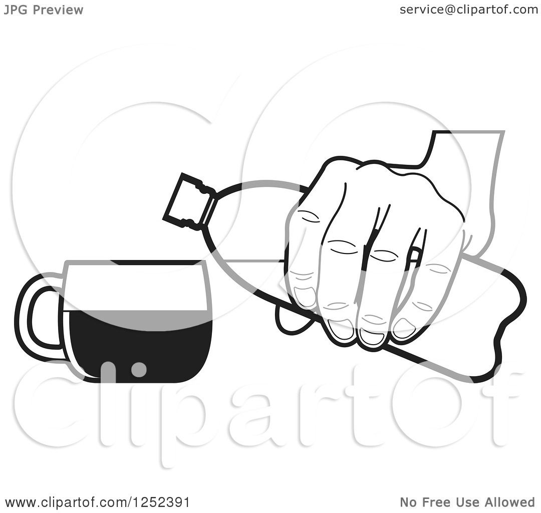 Clipart of a Black and White Hand Pouring from a Water ...