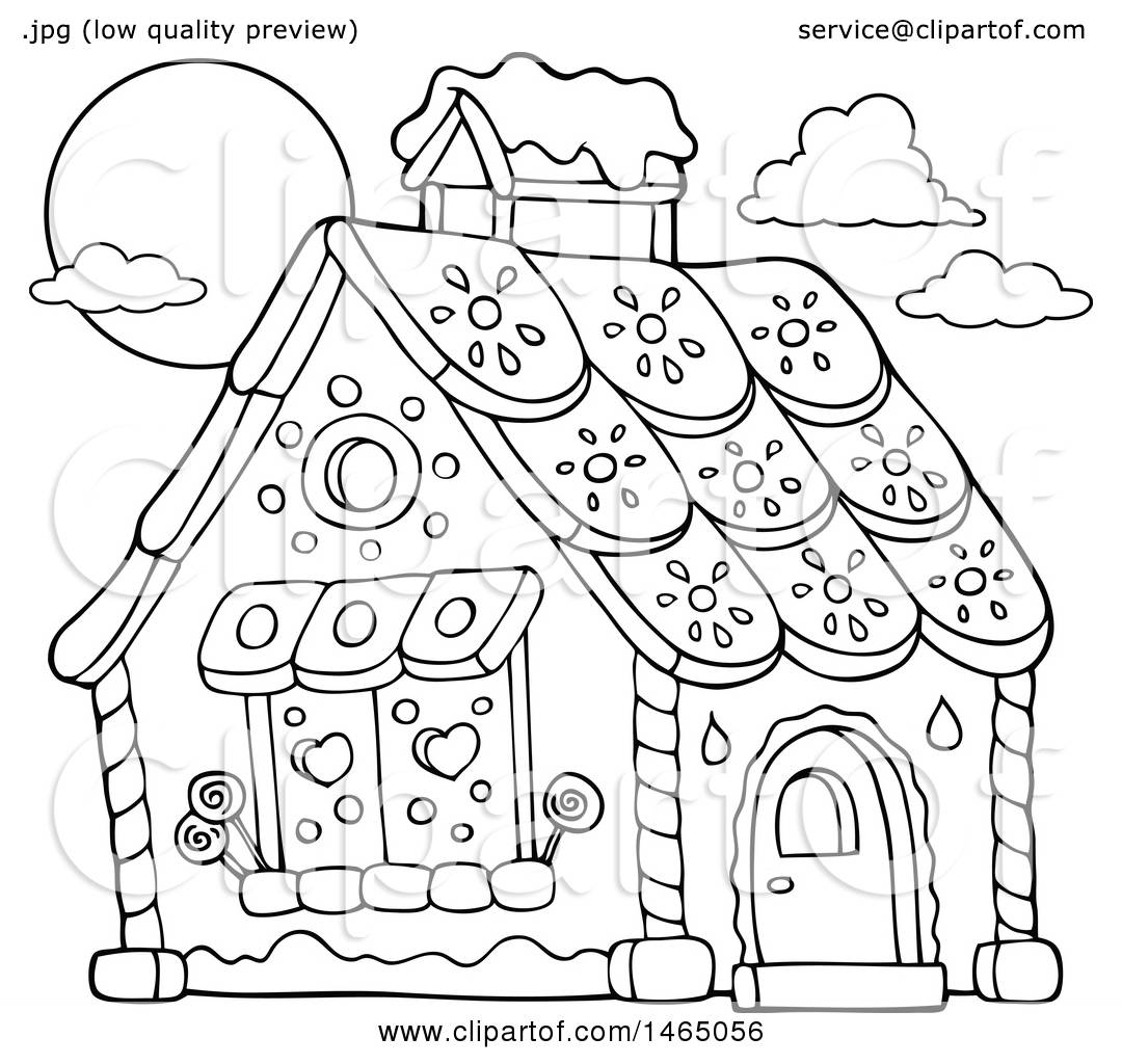 clipart of a black and white hansel and gretel gingerbread
