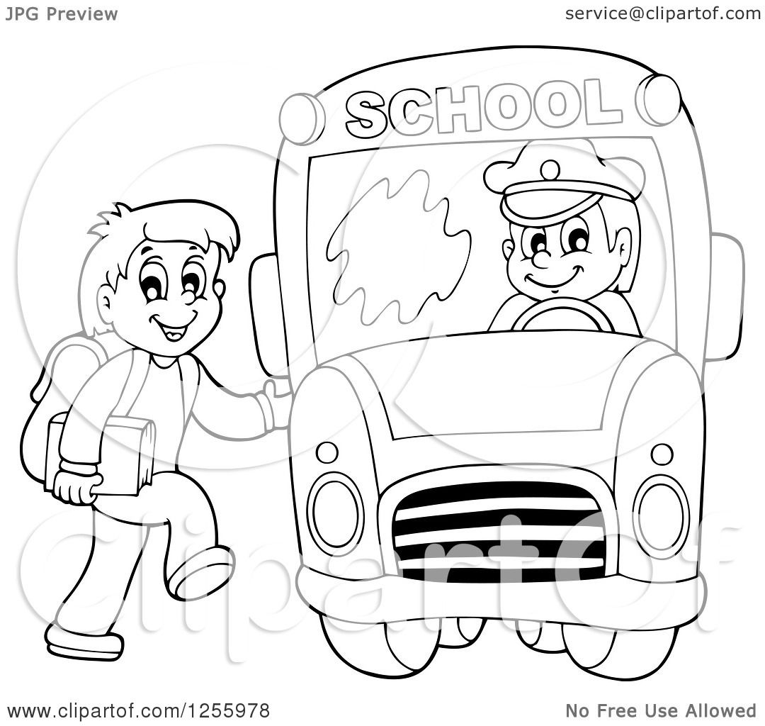 Clipart Of A Black And White Happy Boy Loading A School Bus