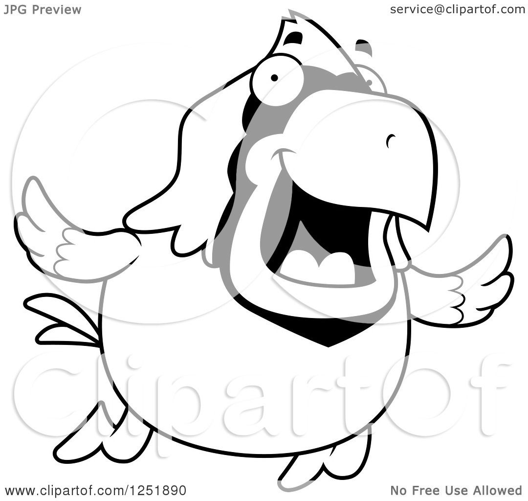 clipart of a black and white happy cardinal bird flying royalty