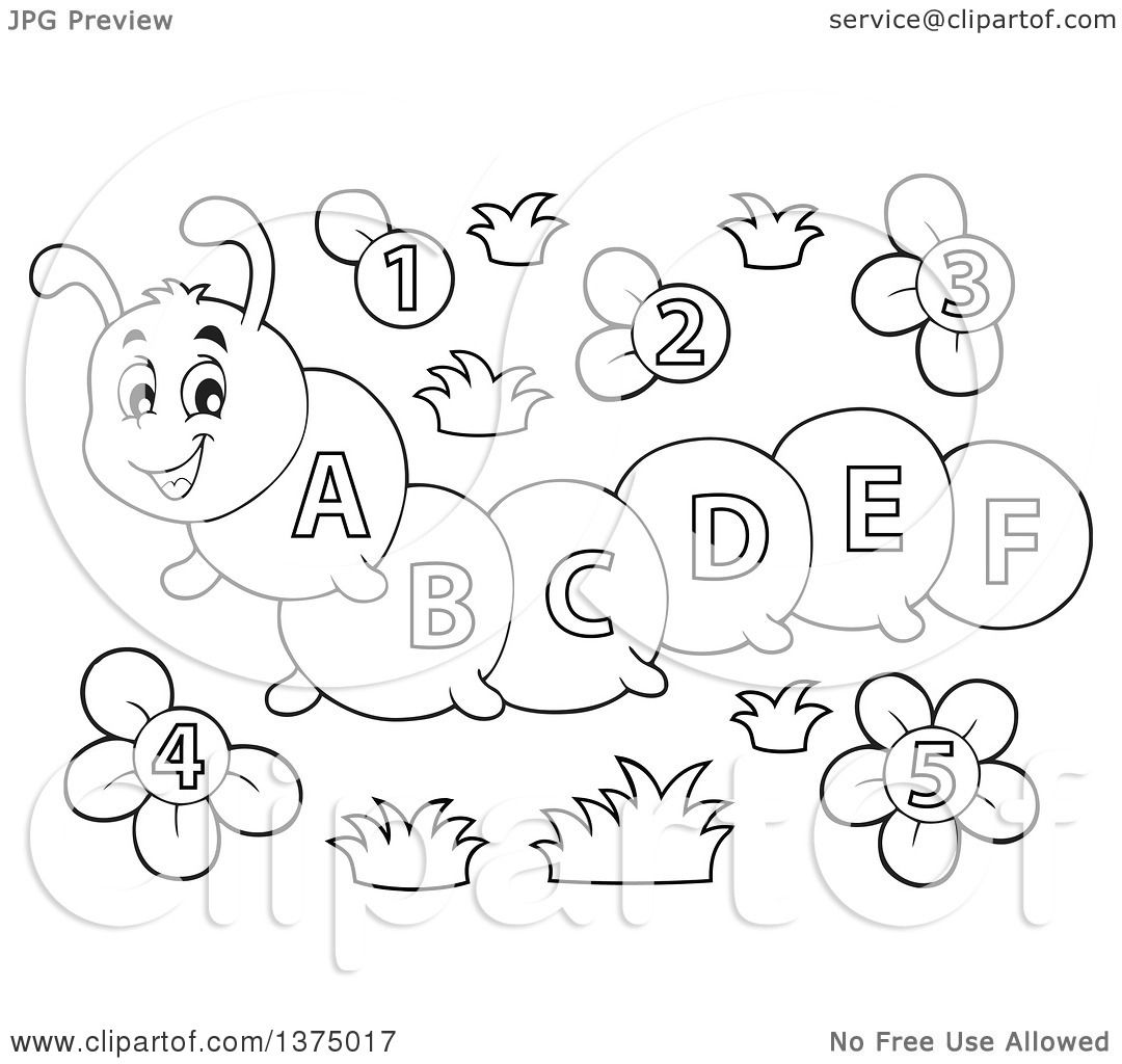 Clipart Of A Black And White Happy Caterpillar With Letters On Its