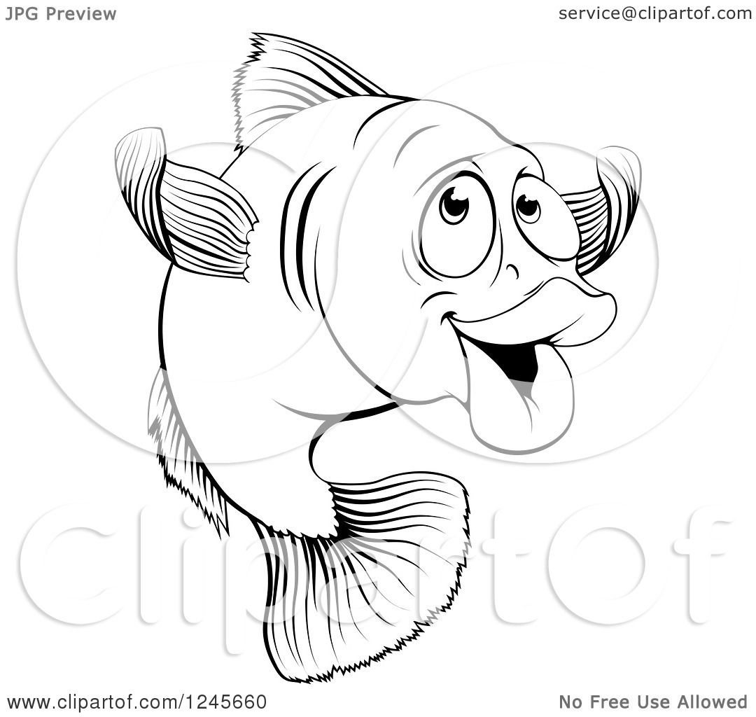 clipart of a black and white happy cod fish gesturing to come