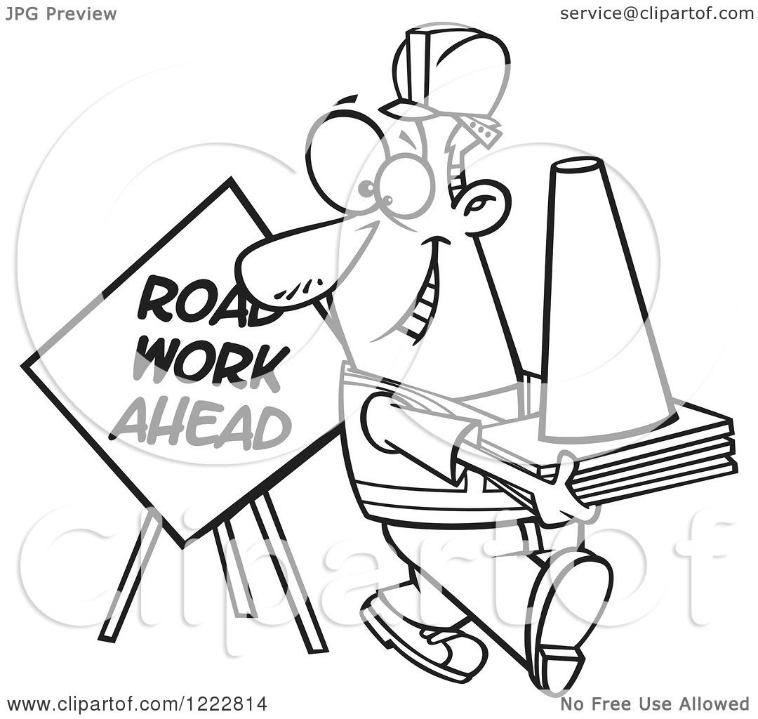 clipart of a black and white happy construction worker with road