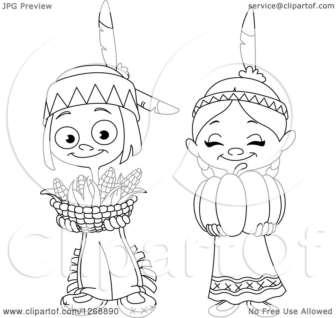 Native Americans Clipart Black And White Clipart of a Bl...