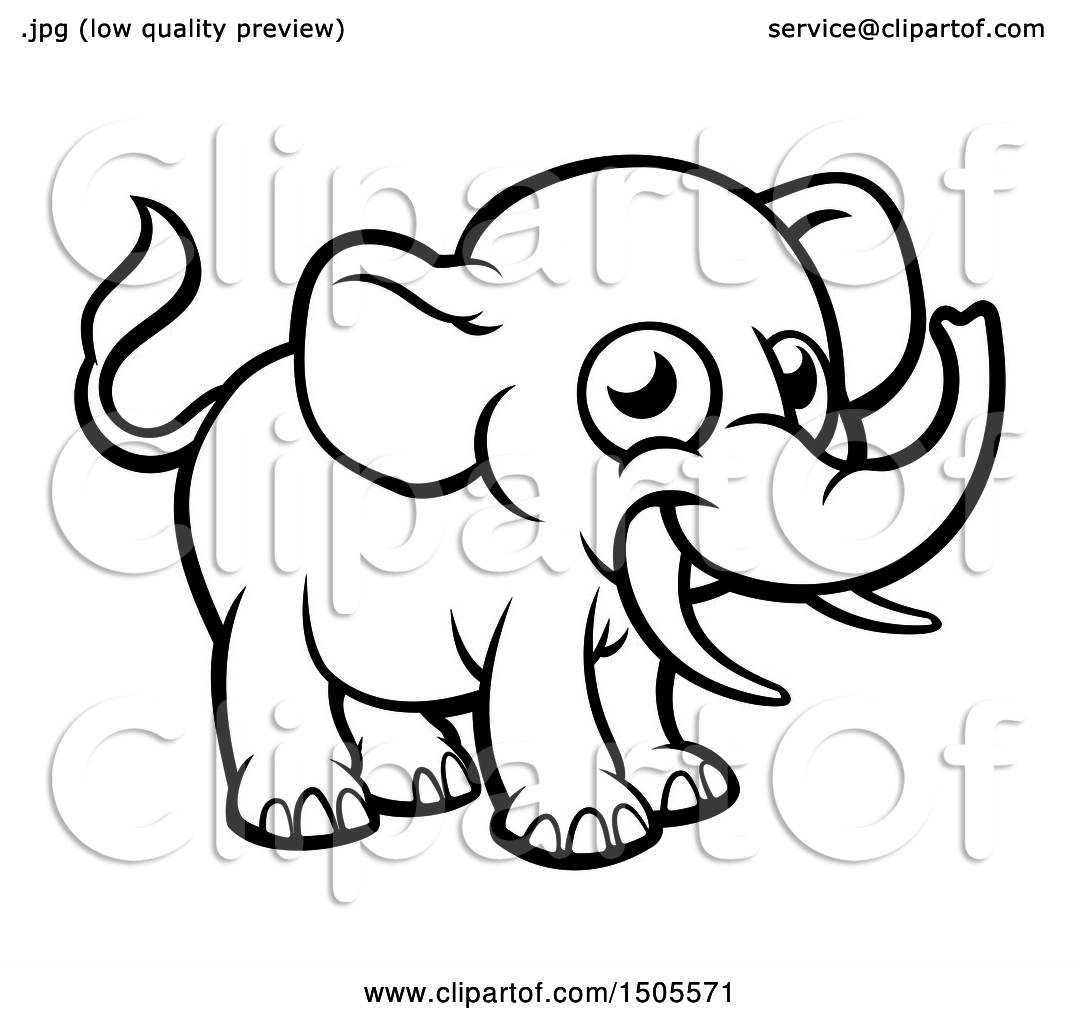 Clipart of a Black and White Happy Elephant with Tusks ...