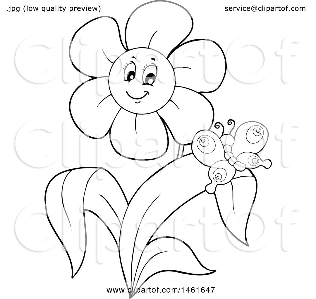 Clipart Of A Black And White Happy Flower And Butterfly Royalty