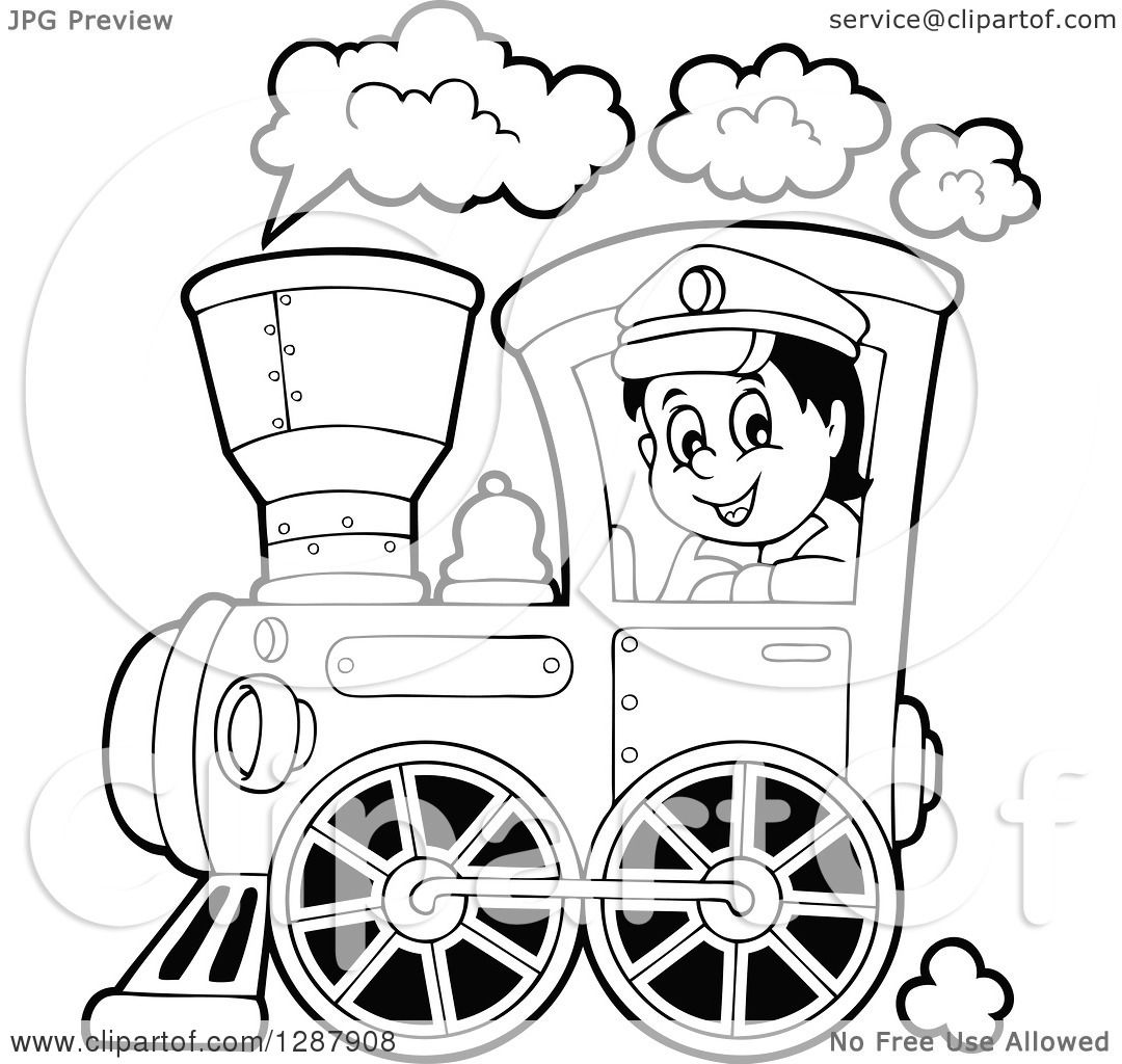 Clipart Of A Black And White Happy Male Train Engineer