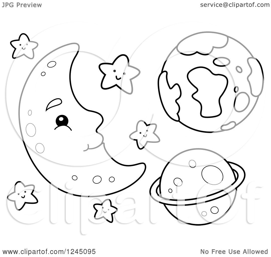 Clipart of a Black and White Happy Moon with Stars and ...