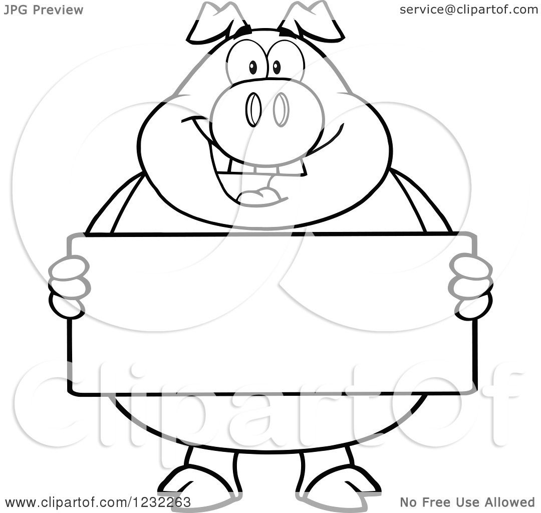 Clipart of a black and white happy pig holding a sign - Clipart illustration ...