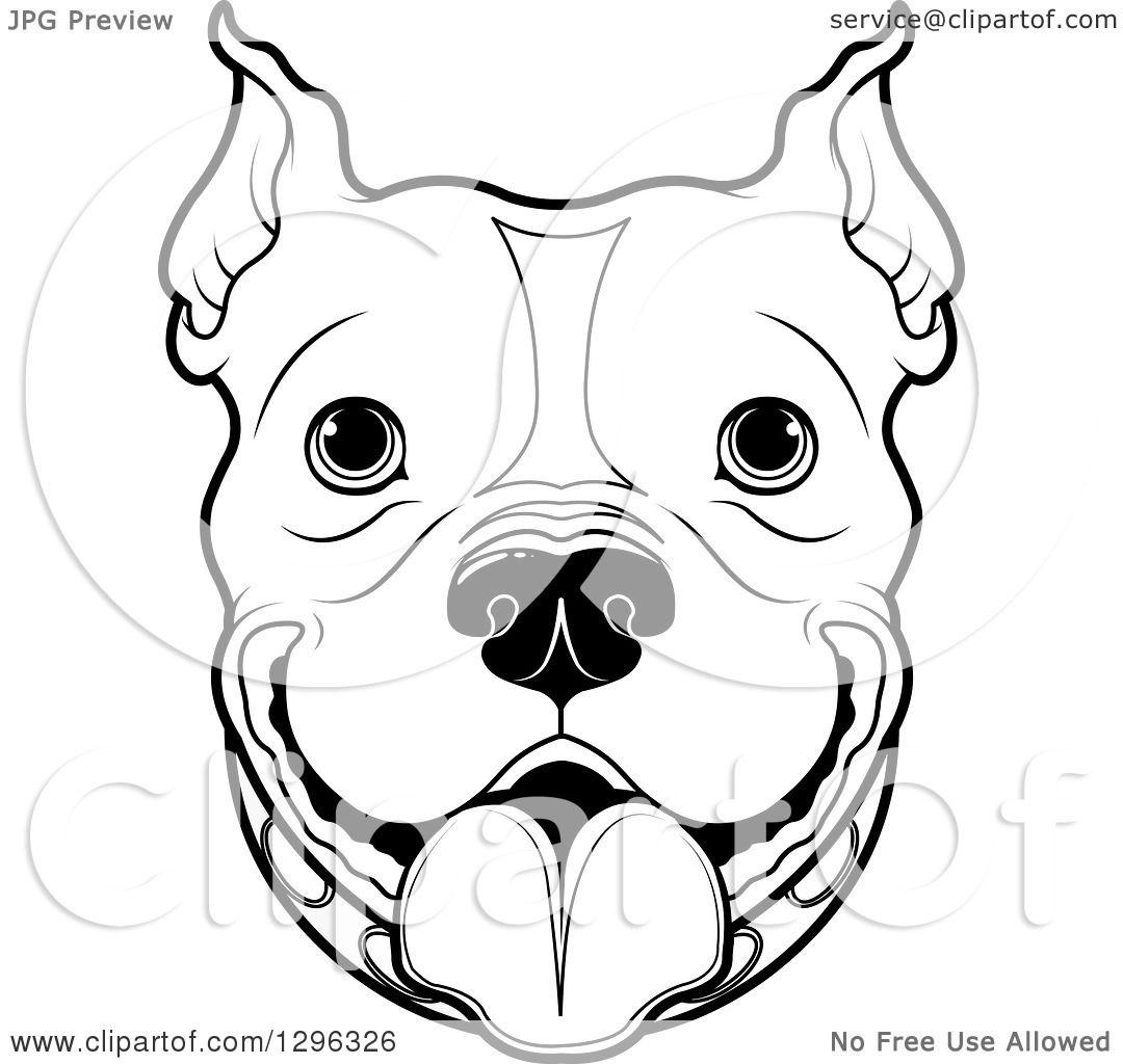 Uncategorized Pitbull Face Drawing clipart of a black and white happy pitbull dog face royalty free vector illustration by pushkin