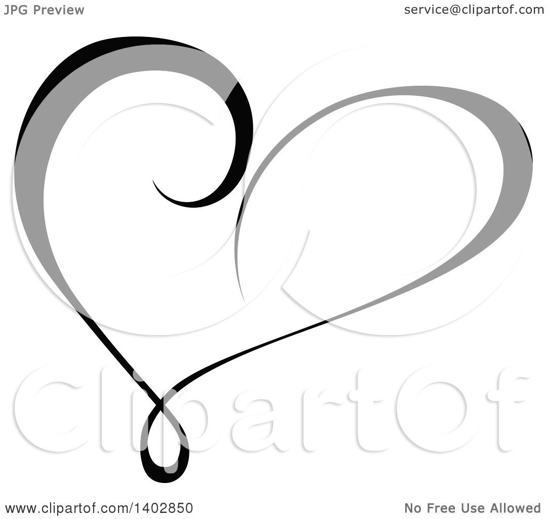 Clipart of a Black and White Heart Swirl Calligraphic Design ...