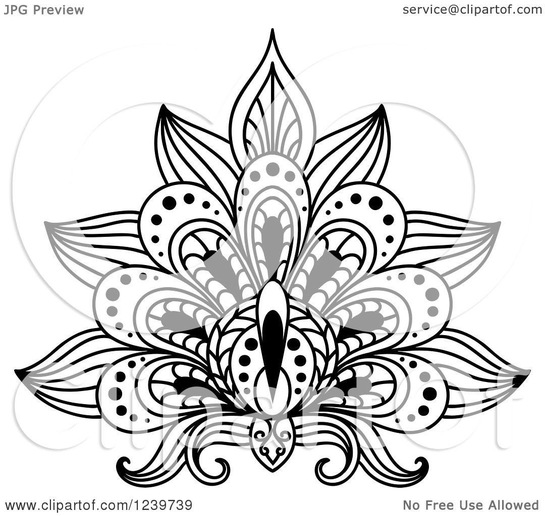 Clipart of a Black and White Henna Lotus Flower 10 ... | 1080 x 1024 jpeg 157kB