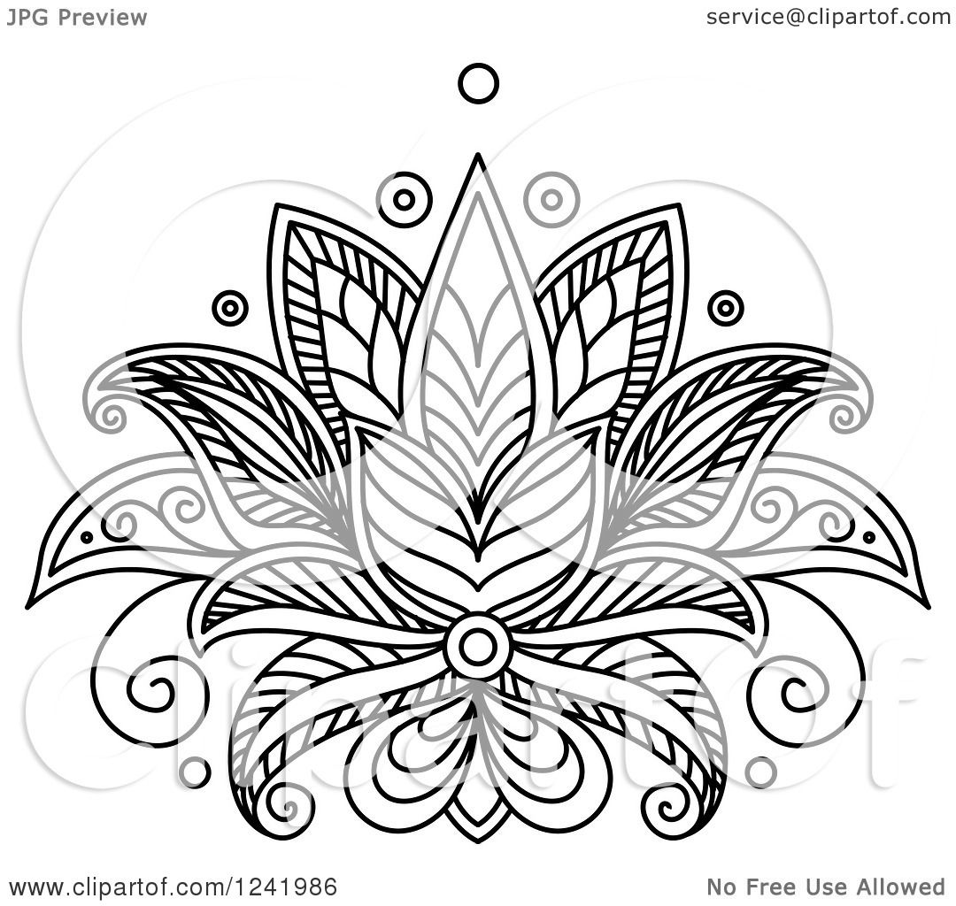 Clipart of a Black and White Henna Lotus Flower 12 - Royalty Free ...