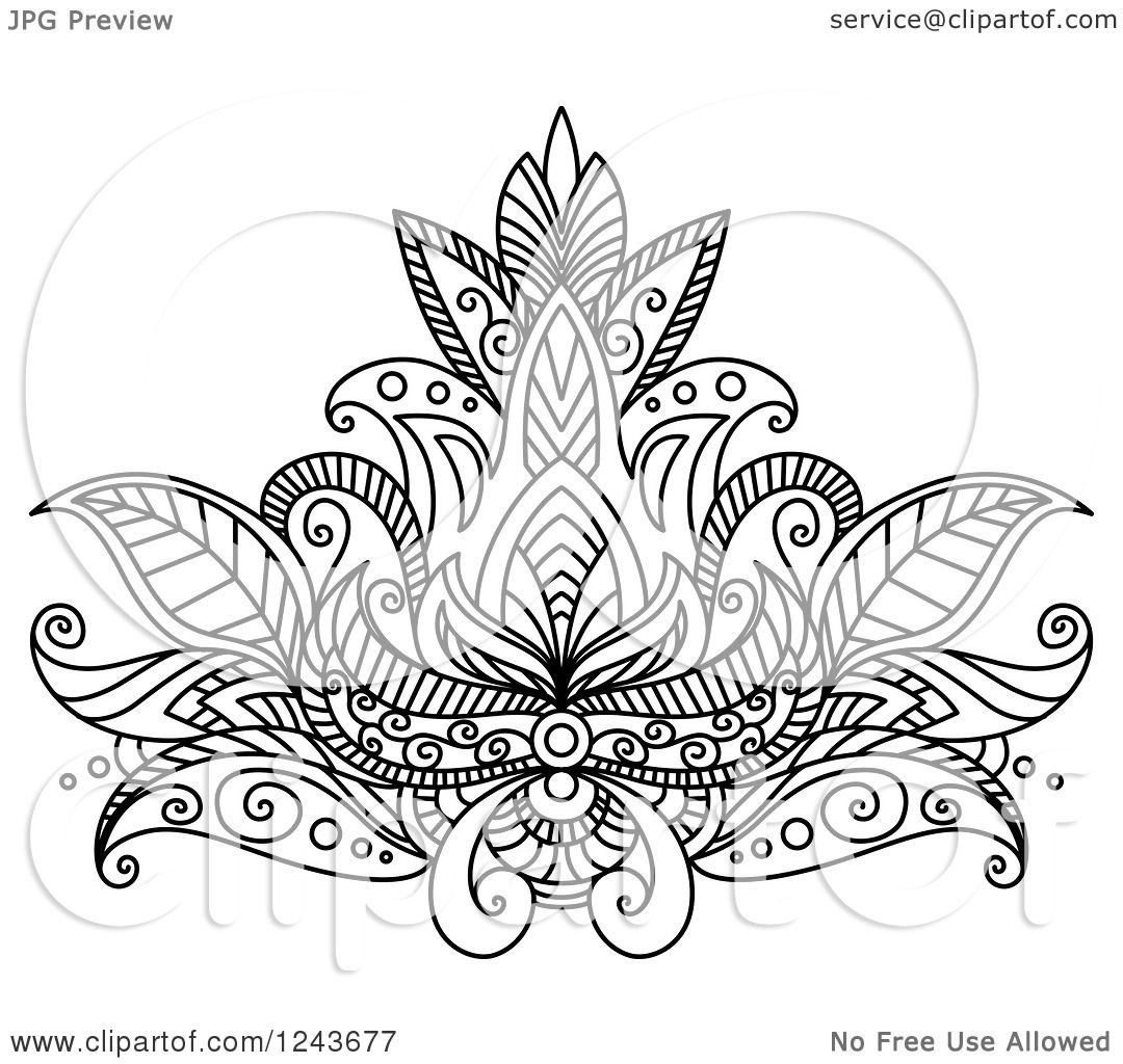 Clipart of a black and white henna lotus flower 14 royalty free clipart of a black and white henna lotus flower 14 royalty free vector illustration by vector tradition sm izmirmasajfo Image collections