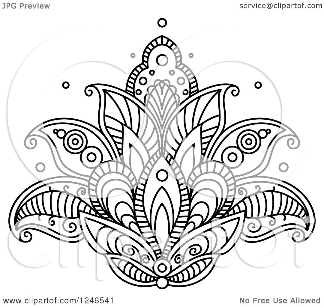 Clipart of a black and white henna lotus flower 15 royalty free clipart of a black and white henna lotus flower 15 royalty free vector illustration by vector tradition sm izmirmasajfo Image collections