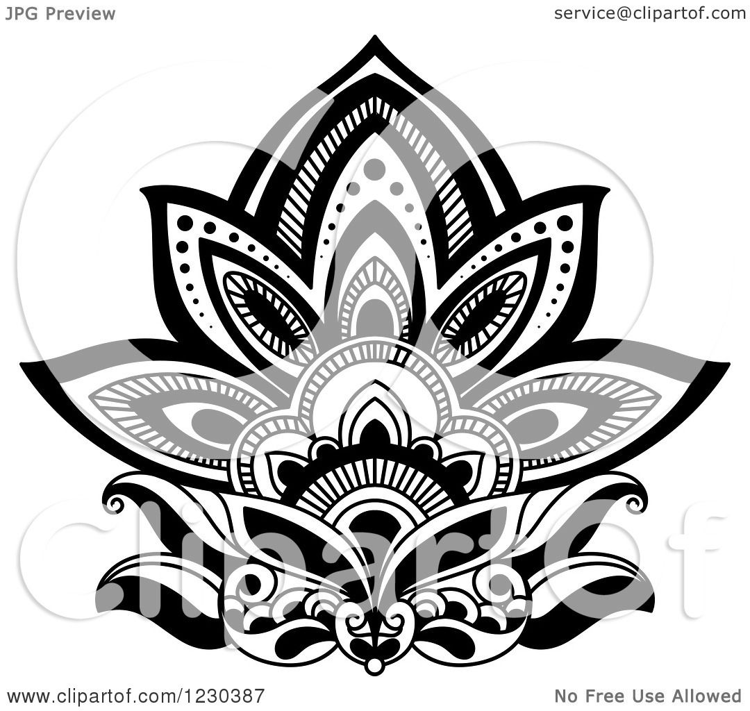 Clipart of a black and white henna lotus flower 3 royalty free clipart of a black and white henna lotus flower 3 royalty free vector illustration by vector tradition sm izmirmasajfo Image collections
