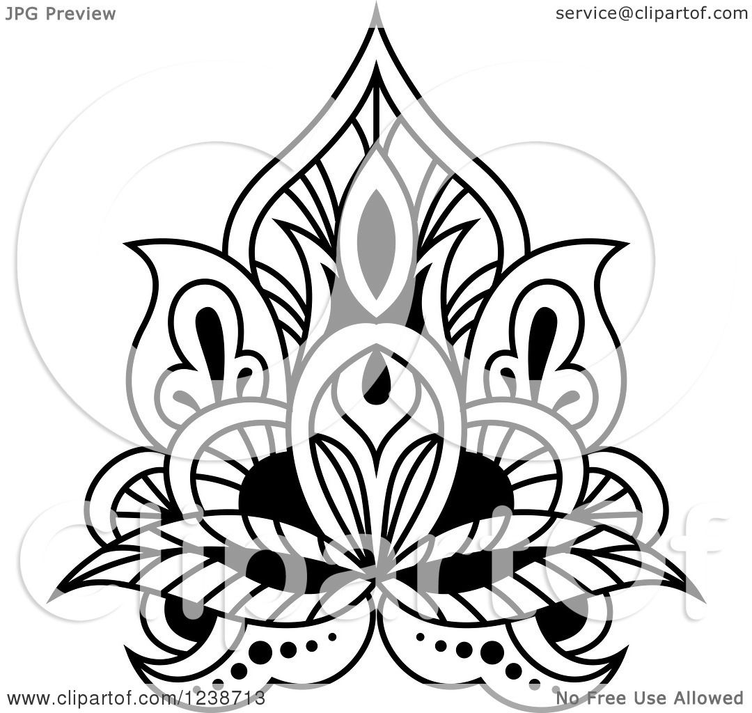 Clipart Of A Black And White Henna Lotus Flower 8 Royalty Free Vector Illustration By Vector