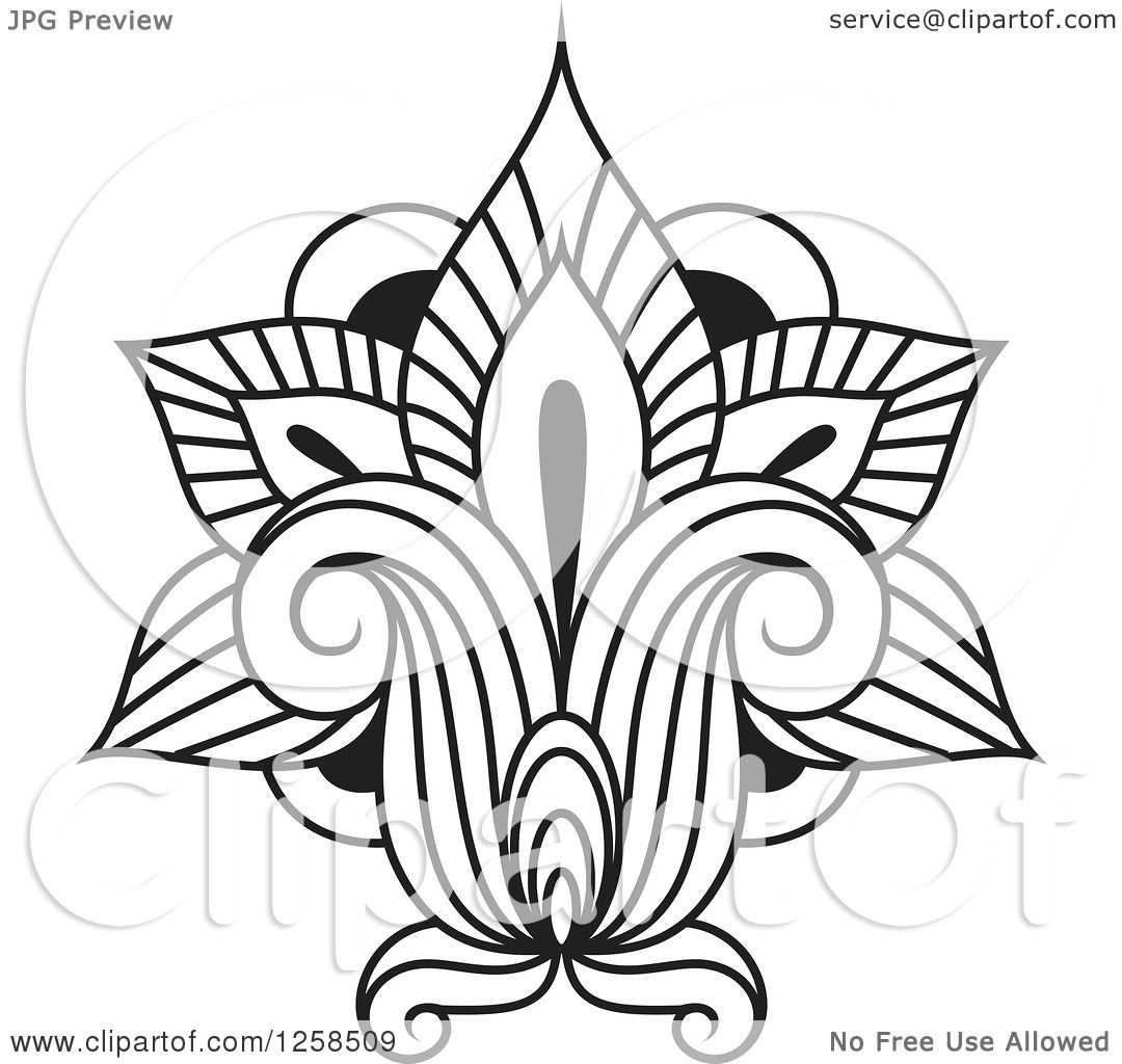 Clipart Of A Black And White Henna Lotus Flower Royalty Free