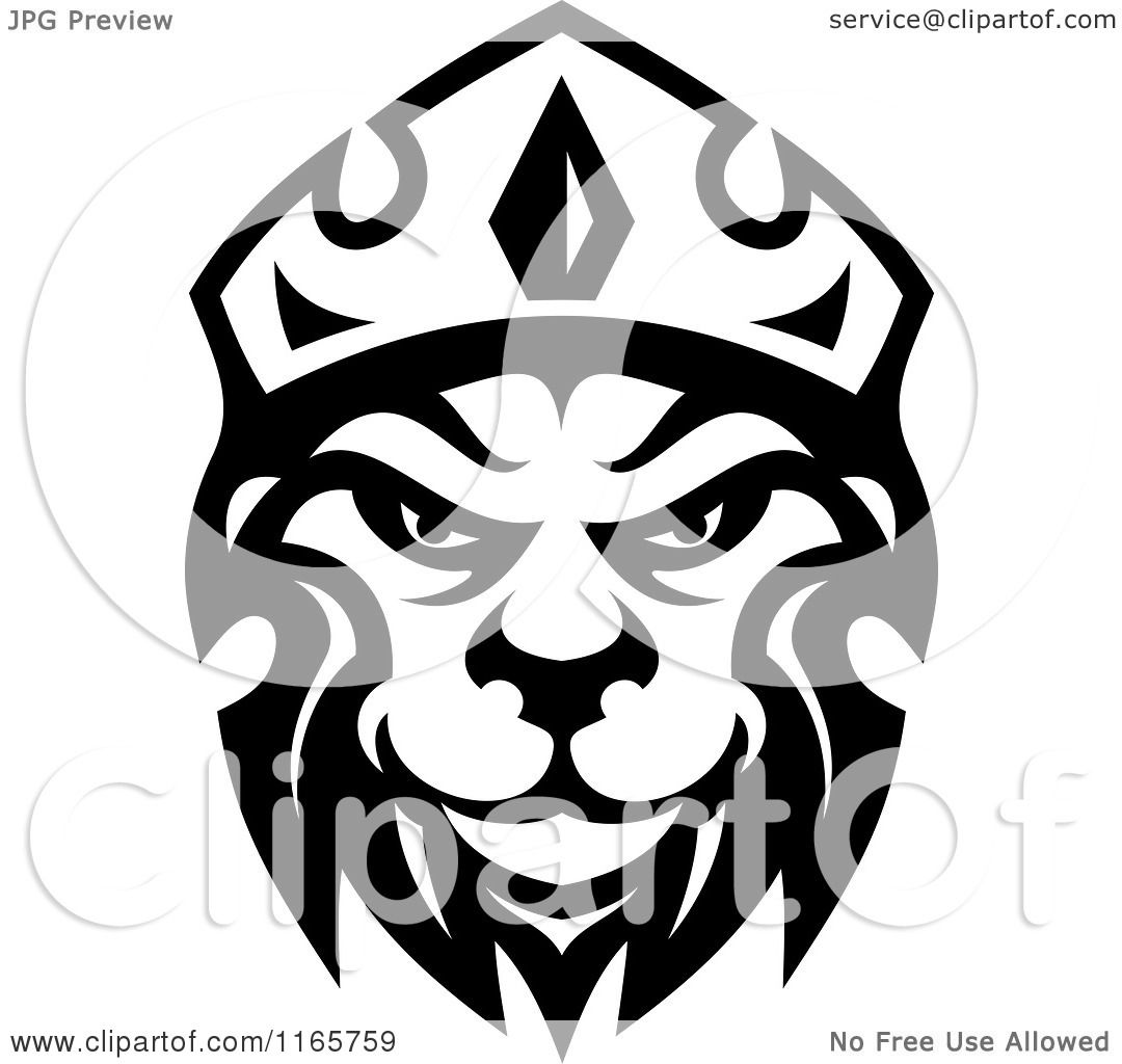 Clipart Of A Black And White Heraldic Lion With Crown 4 Royalty