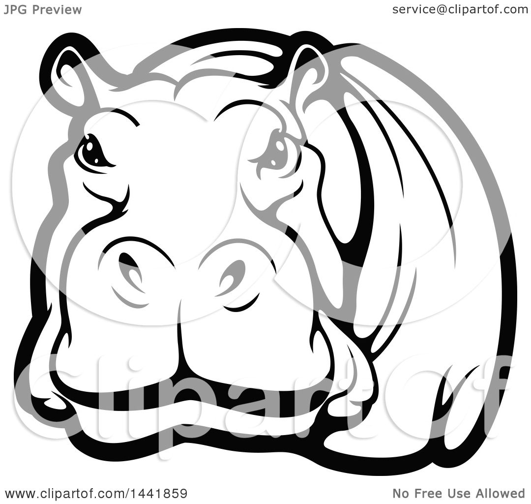 Hippo Art Images: Clipart Of A Black And White Hippo