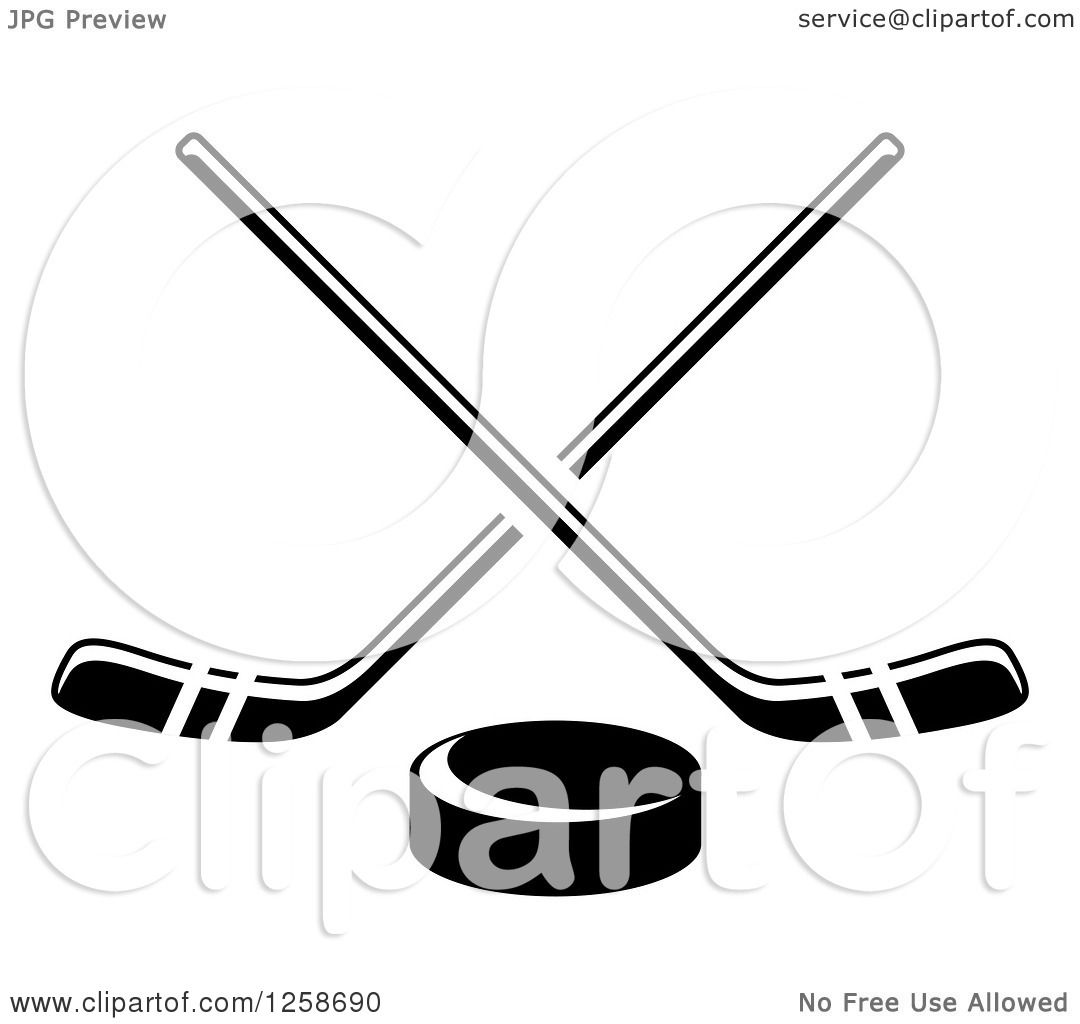 Clipart Of A Black And White Hockey Puck Under Crossed