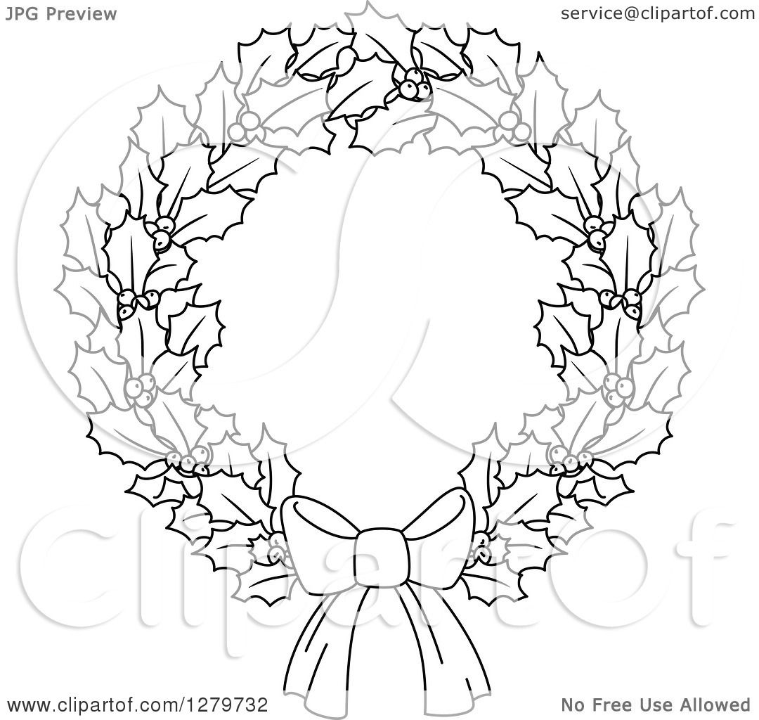 Clipart Of A Black And White Holly Berry Christmas Wreath With Bow