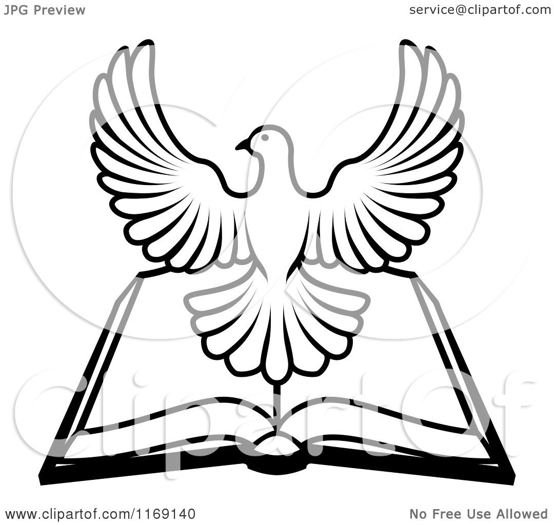 Clipart of a black and white holy spirit dove over an open bible clipart of a black and white holy spirit dove over an open bible royalty free vector illustration by atstockillustration biocorpaavc