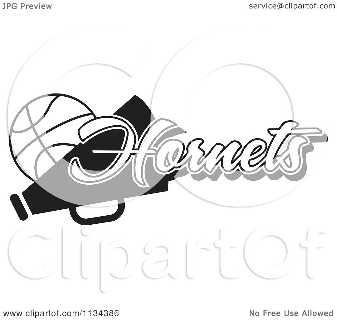 Clipart Of A Black And White Hornets Basketball ...