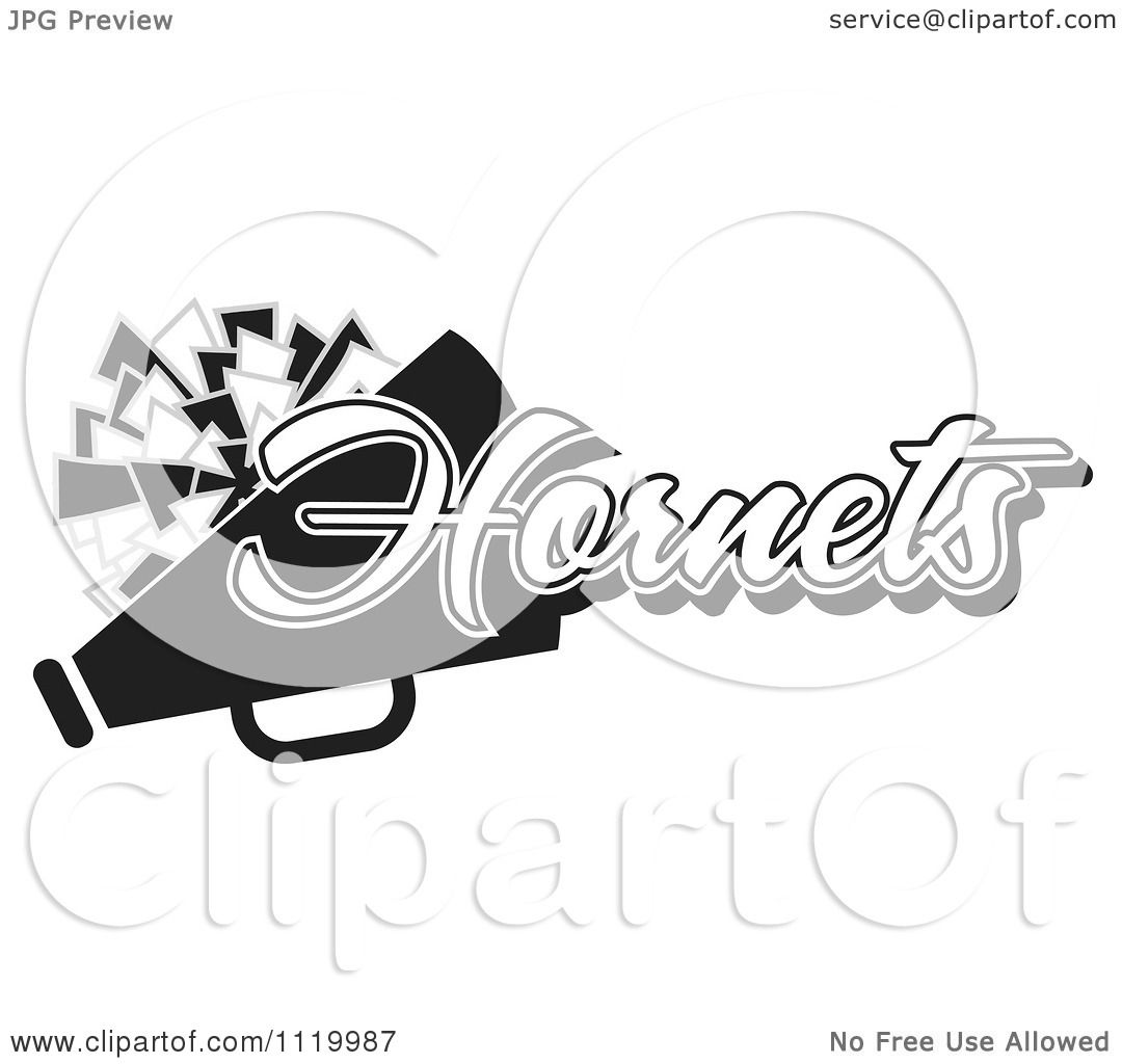 Clipart Of A Black And White Hornets Cheerleader Design ...