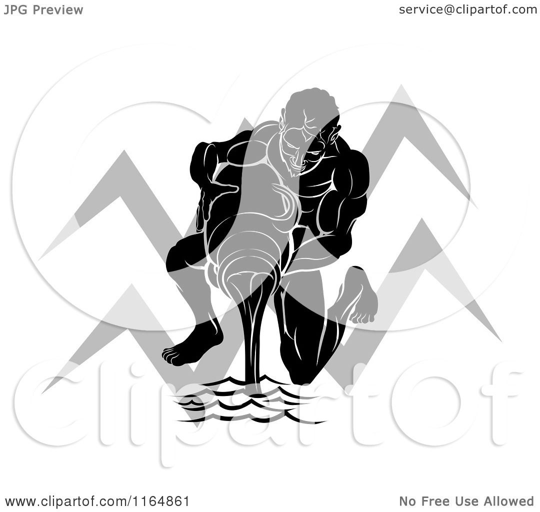 Clipart Of A Black And White Horoscope Zodiac Astrology Aquarius