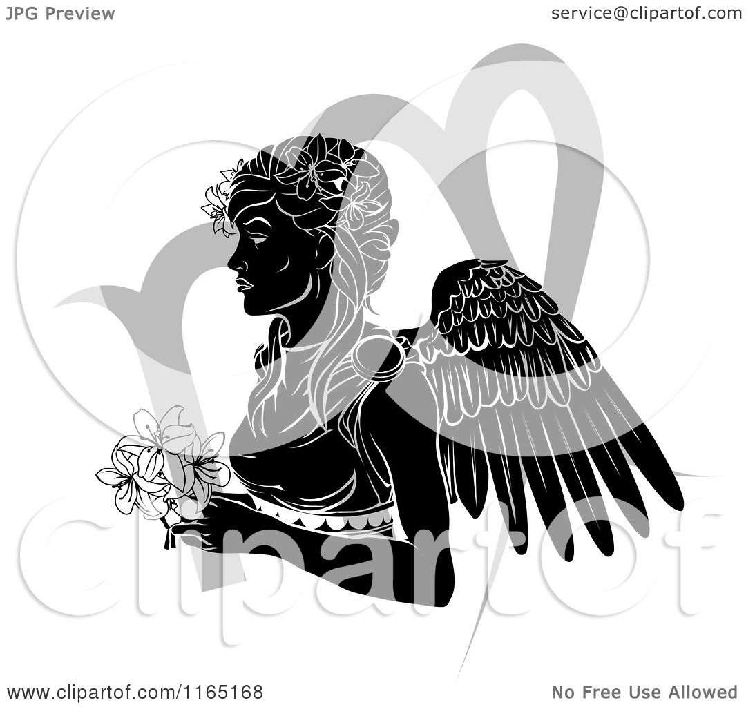 Clipart of a black and white horoscope zodiac astrology virgo angel clipart of a black and white horoscope zodiac astrology virgo angel with flowers and symbol royalty free vector illustration by atstockillustration buycottarizona Gallery
