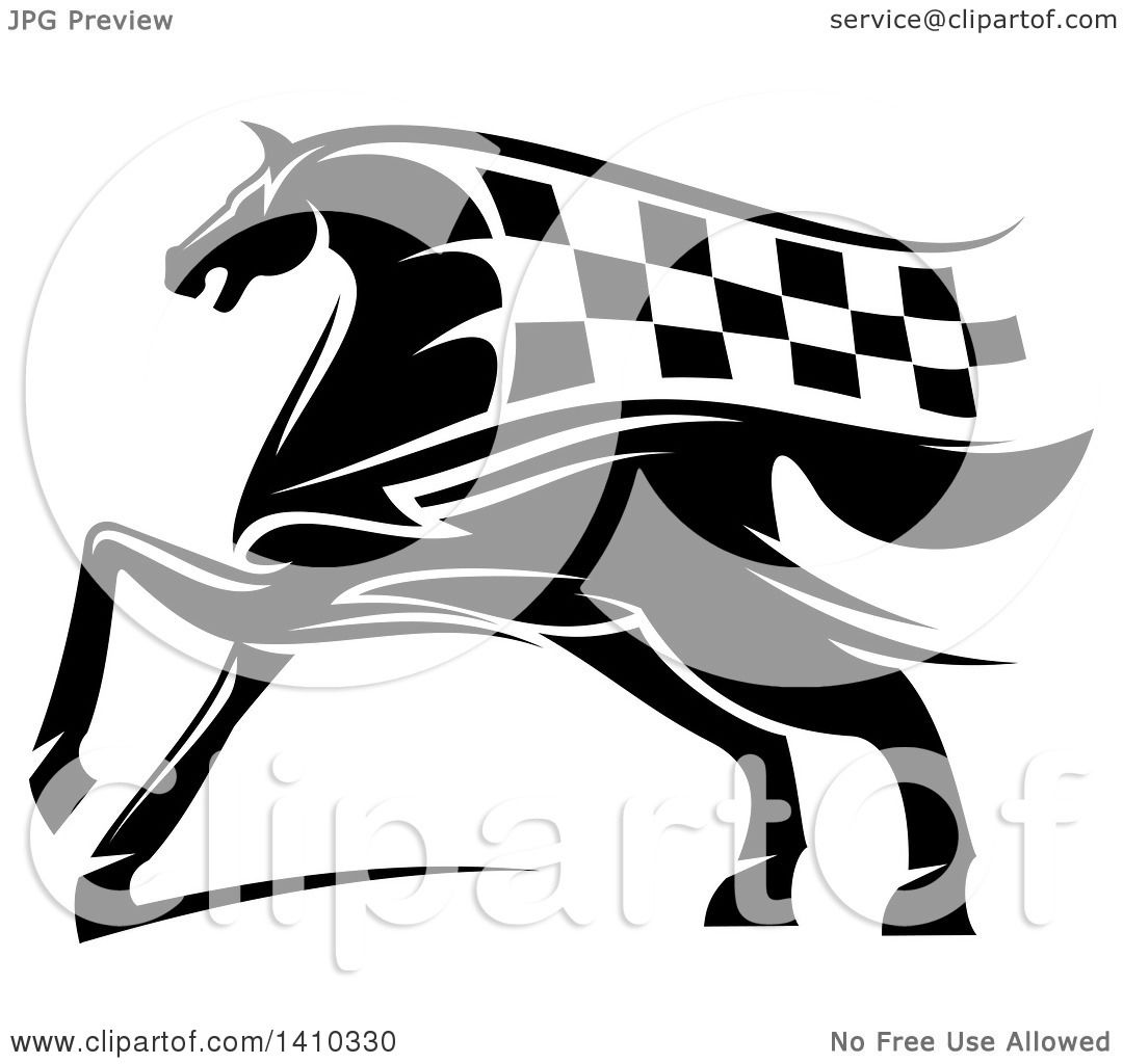 Horse racing black and white