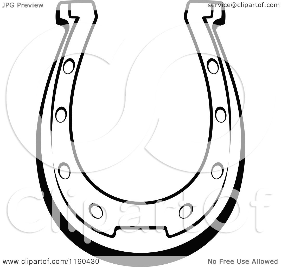 Clipart of a Black and White Horseshoe 12 - Royalty Free ...