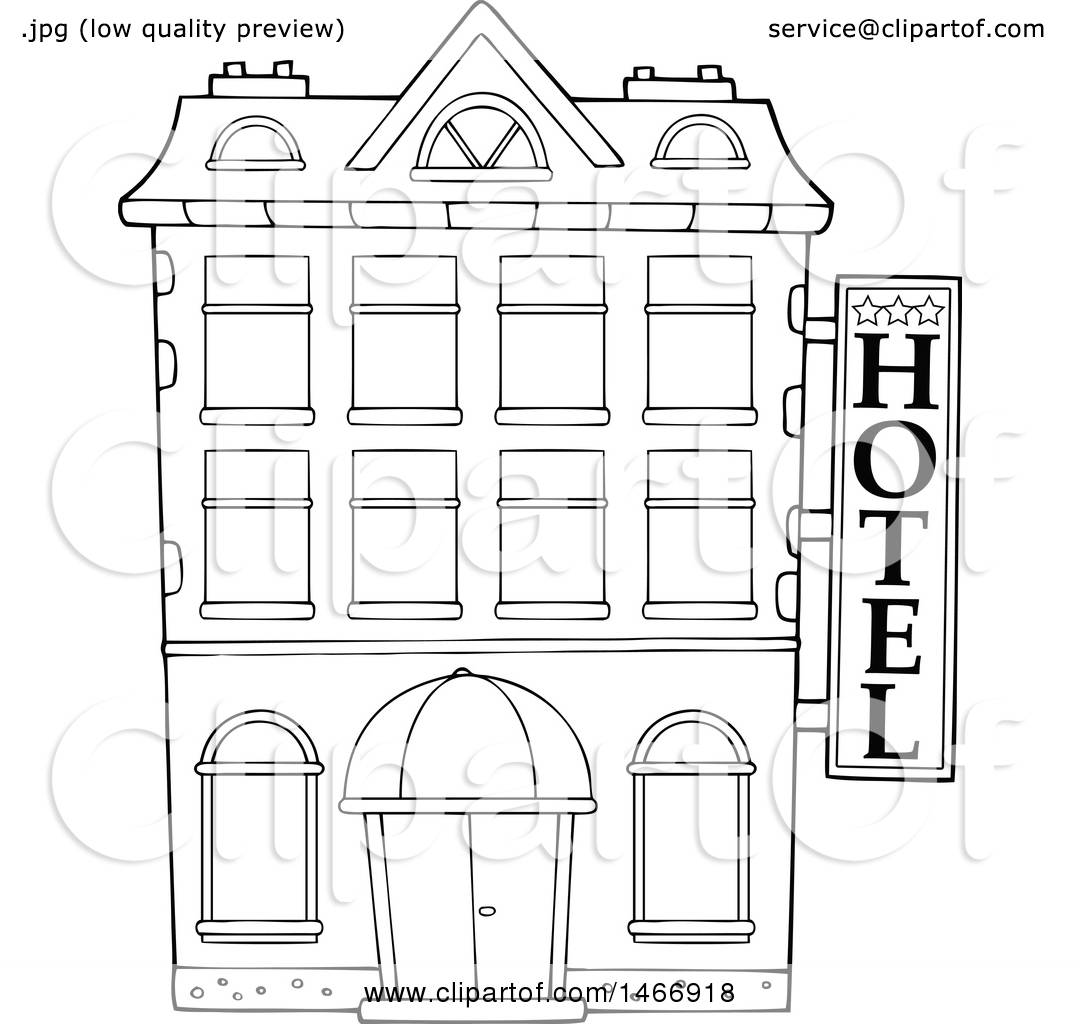 Clipart Of A Black And White Hotel Building