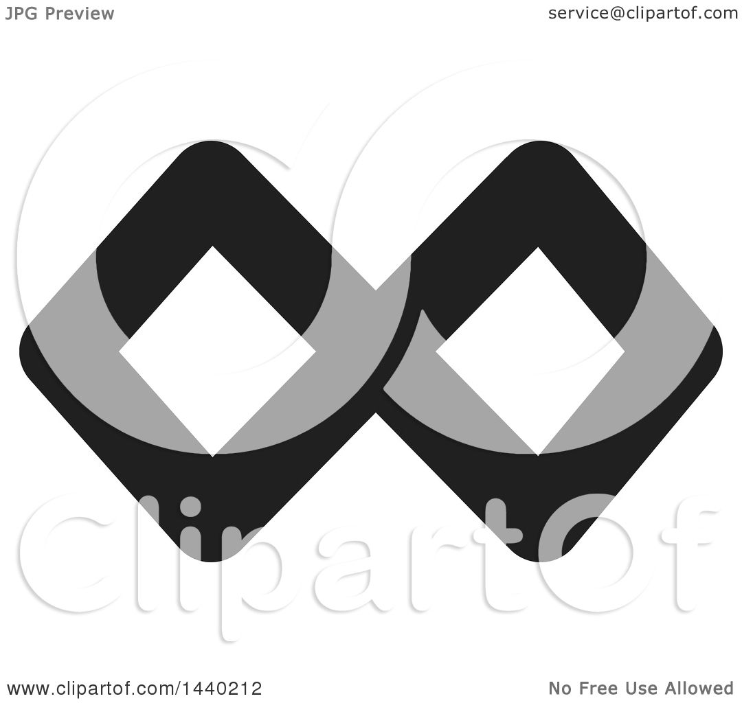 Clipart Of A Black And White Infinity Symbol Royalty Free Vector