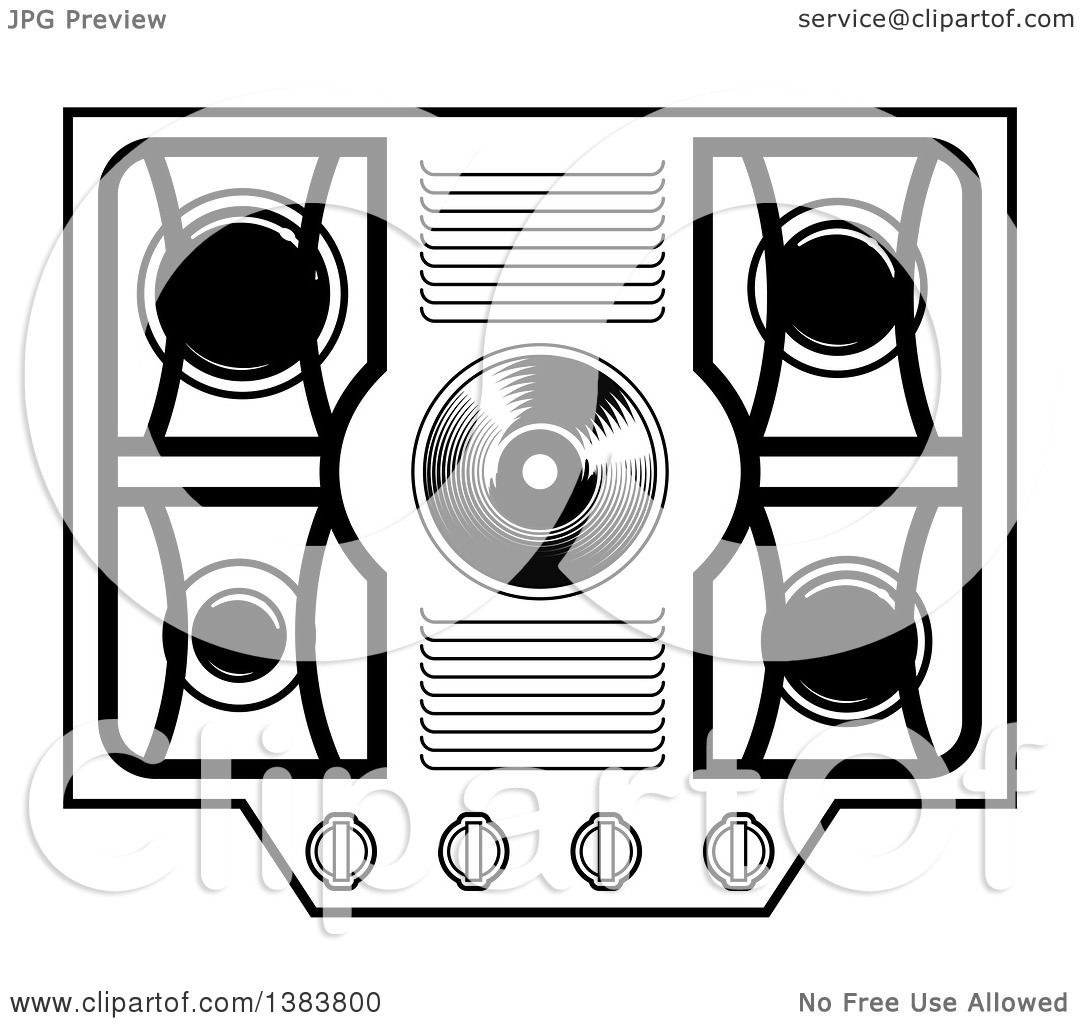 stove clipart black and white. clipart of a black and white kitchen stove hob cook top royalty free vector illustration by frisko d