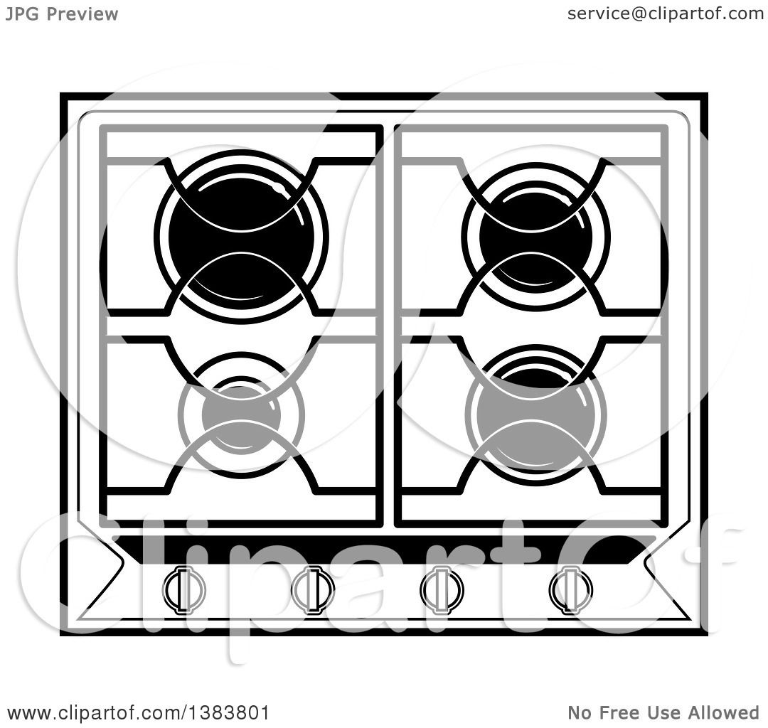 Best Kitchen Illustrations Royalty Free Vector Graphics: Clipart Of A Black And White Kitchen Stove Hob Cook Top