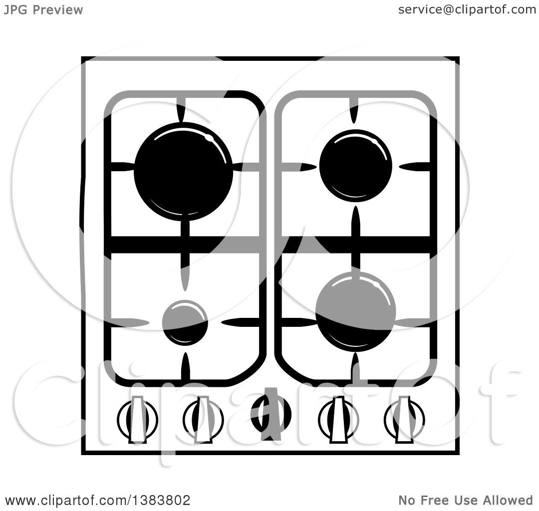 Black And White Kitchen Artwork: Clipart Of A Black And White Kitchen Stove Hob Cook Top
