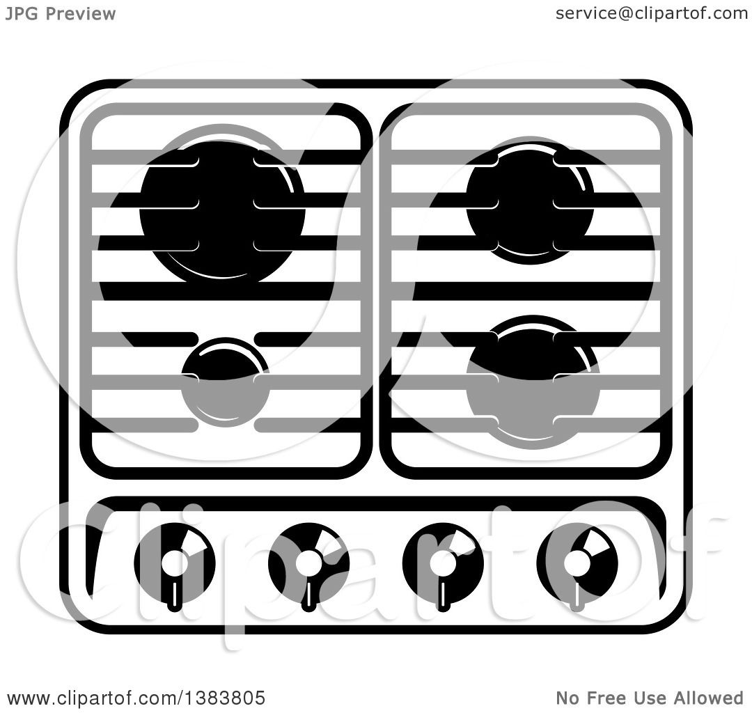 Clipart of a Black and White Kitchen Stove Hob Cook Top - Royalty ...