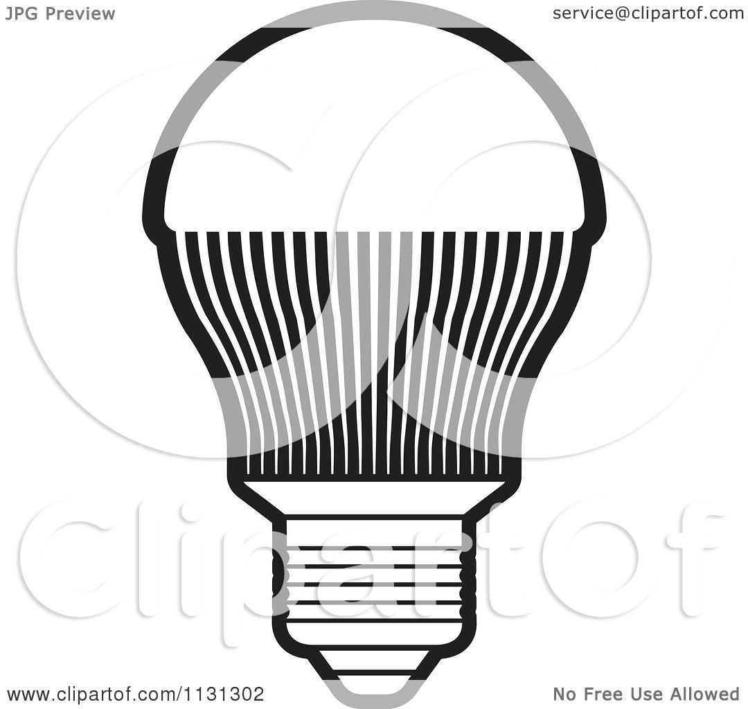 Clipart Of A Black And White LED Light Bulb - Royalty Free Vector ... for Black Light Bulb Clip Art  555kxo