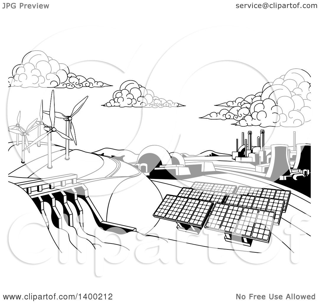 Clipart Of A Black And White Landscape Of Renewable Energy