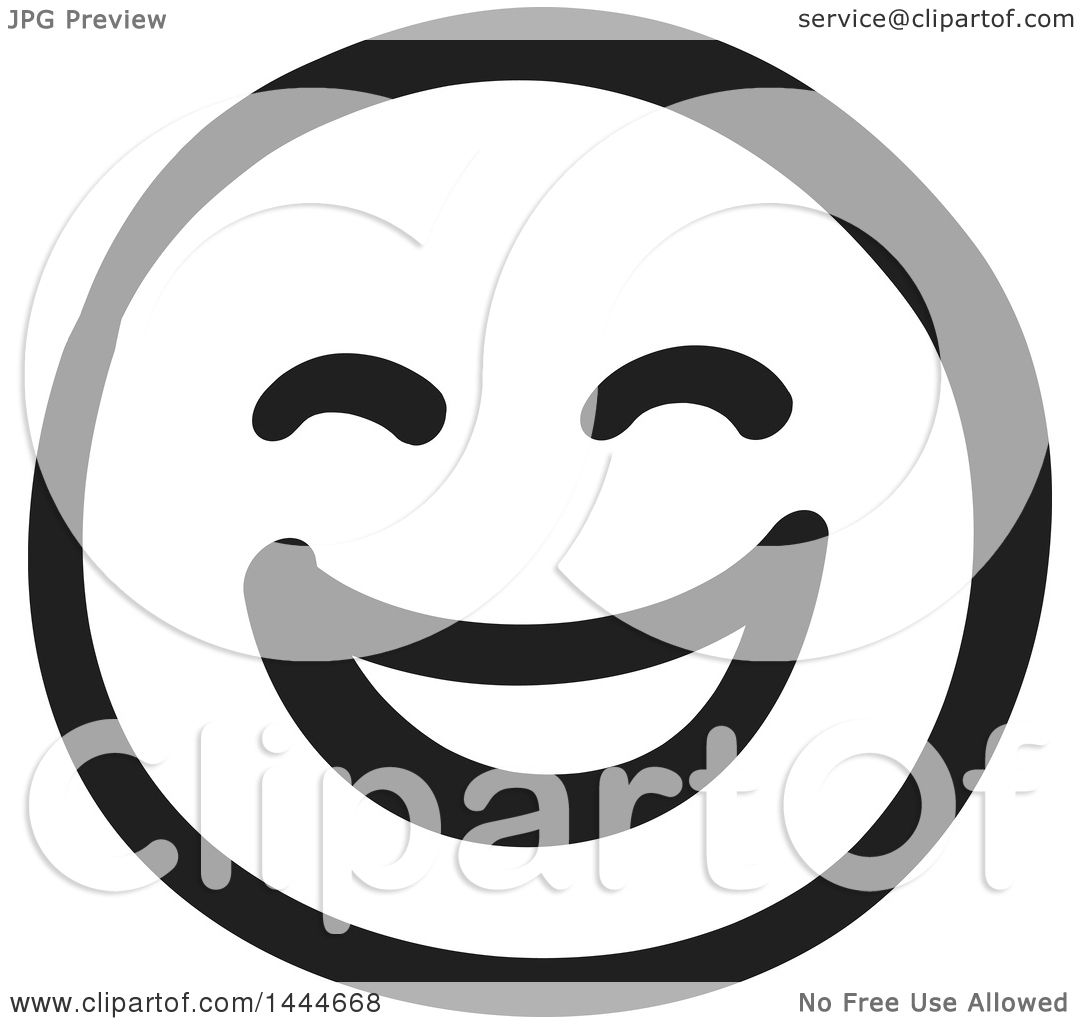 Clipart of a Black and White Laughing Smiley Emoticon Face ...