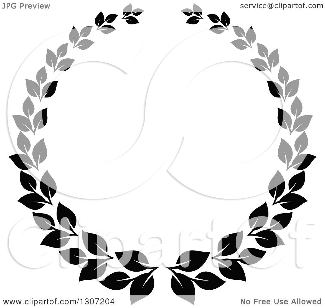 Clipart of a Black and White Laurel Wreath 10 - Royalty ...
