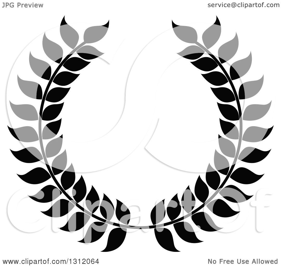 Clipart Of A Black And White Laurel Wreath 18 Royalty